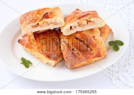 Delicious homemade turnover with apple fruit and cinnamon.