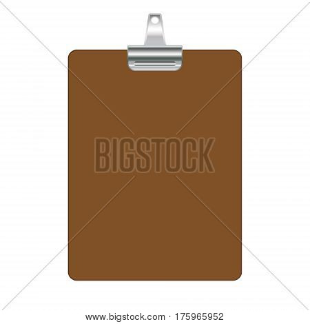 Clipboard template isolated on white background. Empty clip board. Vector illustration.