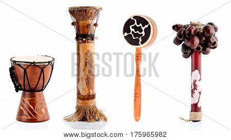 Wooden figurines, decorative figurines, musical instruments, Isolated on a white background