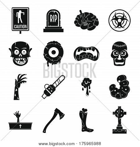 Zombie icons set parts. Simple illustration of 16 zombie parts vector icons for web