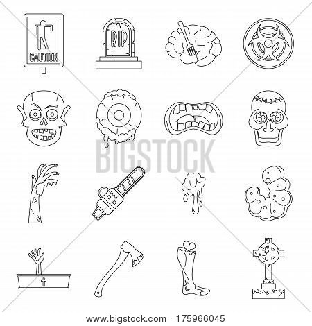 Zombie icons set parts. Outline illustration of 16 zombie parts vector icons for web