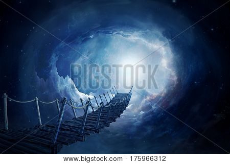 Fantasy bridge on a portal in the space. 3D rendering image.