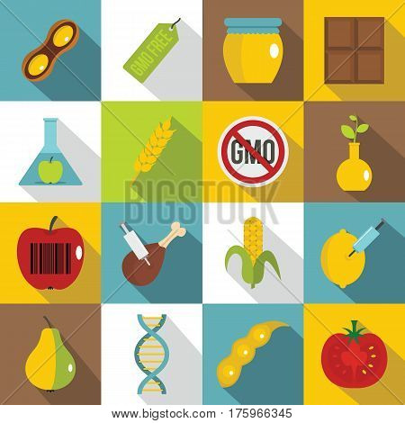 GMO icons set food. Flat illustration of 16 GMO food vector icons for web