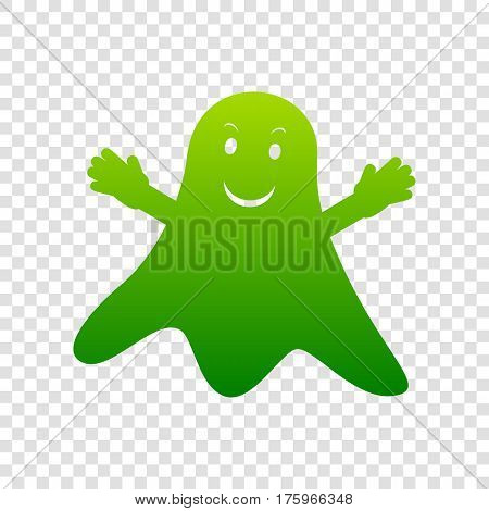 Ghost Isolated Sign. Vector. Green Gradient Icon On Transparent Background.