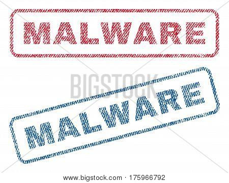 Malware text textile seal stamp watermarks. Blue red fabric vectorized texture. Vector caption inside rounded rectangular banner. Rubber emblem with fiber textile structure.