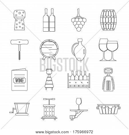 Wine icons set. Outline illustration of 16 wine vector icons for web