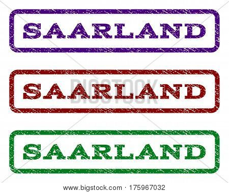 Saarland watermark stamp. Text caption inside rounded rectangle frame with grunge design style. Vector variants are indigo blue, red, green ink colors. Rubber seal stamp with unclean texture.