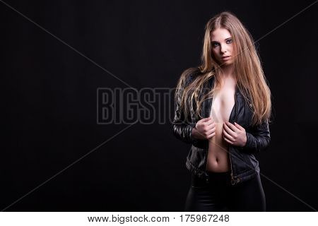 Hot Woman In Leather Jacket