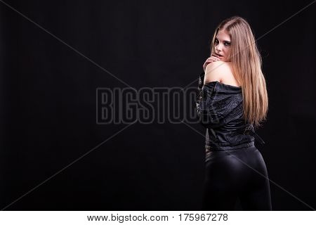 Woman With No Bra In Leather Jacket
