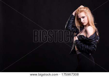 Hot Sexy Girl With No Bra In Leather Jacket