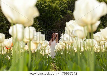 Gorgeous Woman In Tulip Field