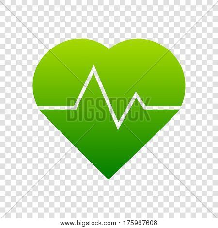 Heartbeat Sign Illustration. Vector. Green Gradient Icon On Transparent Background.