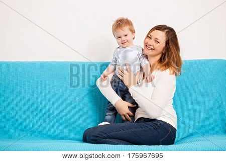 Mother And Beautiful Child Son Having Fun Time Toghether
