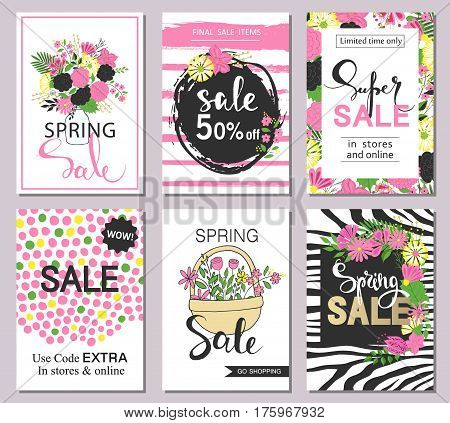 Set of flat and hand drawn spring cards and labels for season sale, fashion discounts, promotional flyers and posters, apps, websites, printing material . Colorful and floral sale badges.