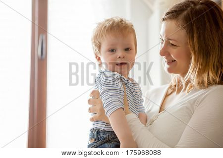 Mother And Child Son Having Fun Time Toghether
