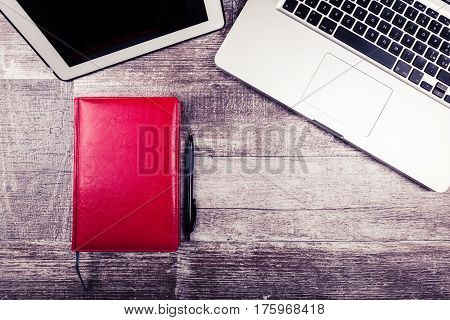 Writing Notebook, Pen And Laptop