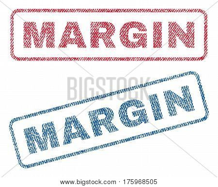 Margin text textile seal stamp watermarks. Blue red fabric vectorized texture. Vector caption inside rounded rectangular shape. Rubber emblem with fiber textile structure.