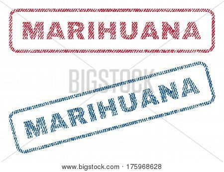 Marihuana text textile seal stamp watermarks. Blue red fabric vectorized texture. Vector tag inside rounded rectangular banner. Rubber sign with fiber textile structure.