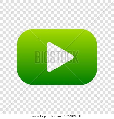 Play Button Sign. Vector. Green Gradient Icon On Transparent Background.