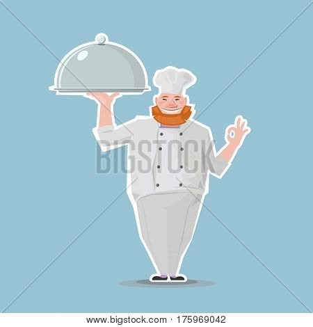 business illustration with red-hair chef standing with metal salver