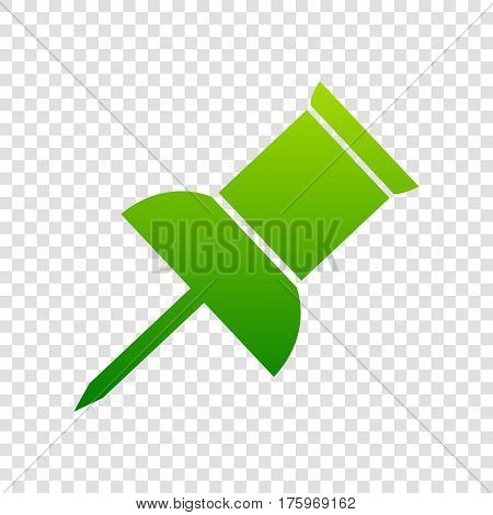 Pin Push Sign. Vector. Green Gradient Icon On Transparent Background.