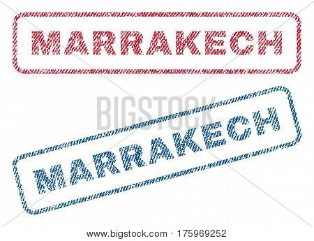 Marrakech text textile seal stamp watermarks. Blue red fabric vectorized texture. Vector caption inside rounded rectangular shape. Rubber sign with fiber textile structure.