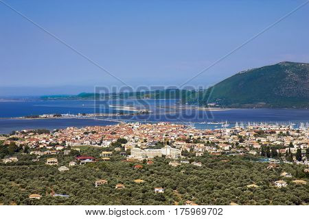 View of Lefkas town on Lefkada island Greece