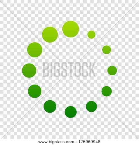 Circular Loading Sign. Vector. Green Gradient Icon On Transparent Background.