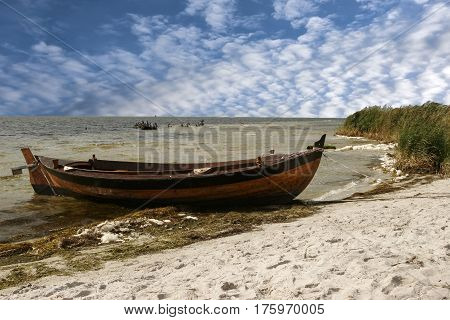 Boat on the sea shore on the beach