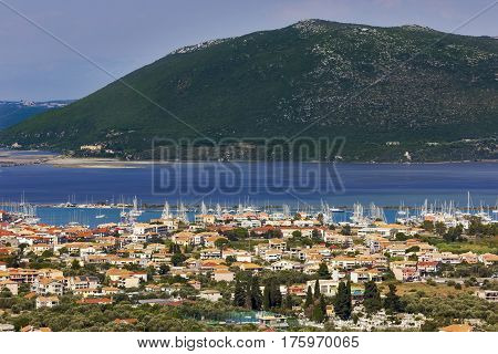 Panorama of Lefkas town in Lefkada island, Greece