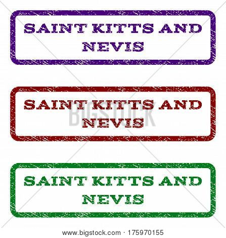 Saint Kitts and Nevis watermark stamp. Text caption inside rounded rectangle frame with grunge design style. Vector variants are indigo blue, red, green ink colors.