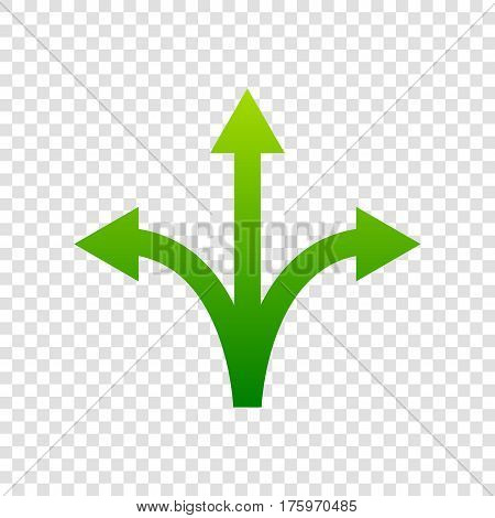 Three-way Direction Arrow Sign. Vector. Green Gradient Icon On Transparent Background.