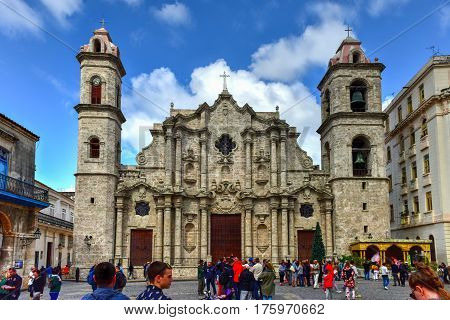 Havana Cuba - January 8 2017: The Cathedral of Havana and Cathedral Plaza.