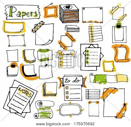 Office supplies. Set of hand drawn colorful isolated doodle notepaper for messages, paper notes, lists, frames in cartoon style. vector. Outline. colorful