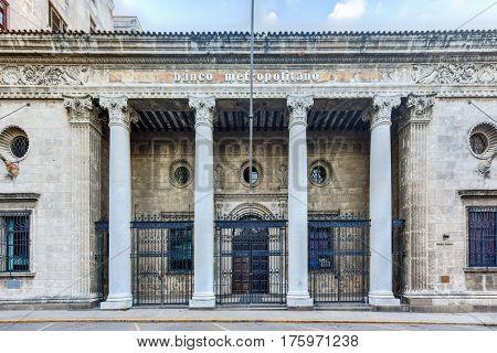 Havana, Cuba - January 8, 2017: Metropolitan Bank (banco metropolitano) building in Havana Cuba.