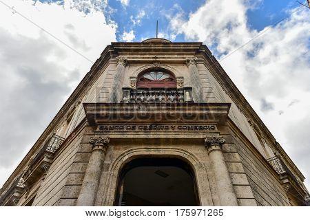Havana, Cuba - January 8, 2017: Bank of Credit and Commerce (Banco de Credito y Comercio) building in Havana Cuba.