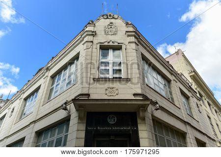 Havana, Cuba - January 8, 2017: Bank of International Finance (Banco financiero internacional) building in Havana Cuba.