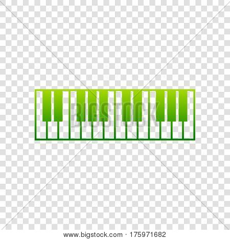 Piano Keyboard Sign. Vector. Green Gradient Icon On Transparent Background.