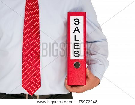 Sales - Manager with binder on white background