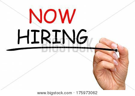 Now Hiring - female hand with marker writing text