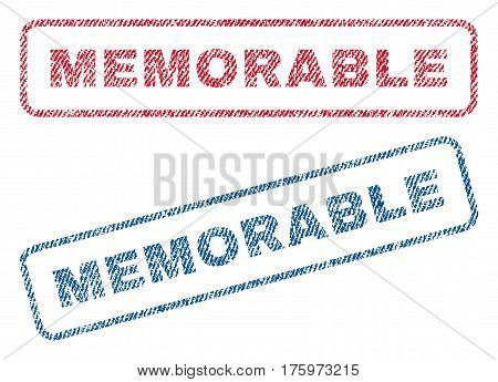 Memorable text textile seal stamp watermarks. Blue red fabric vectorized texture. Vector caption inside rounded rectangular shape. Rubber sign with fiber textile structure.