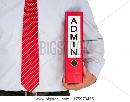 Admin - Administration - Manager with binder on white background