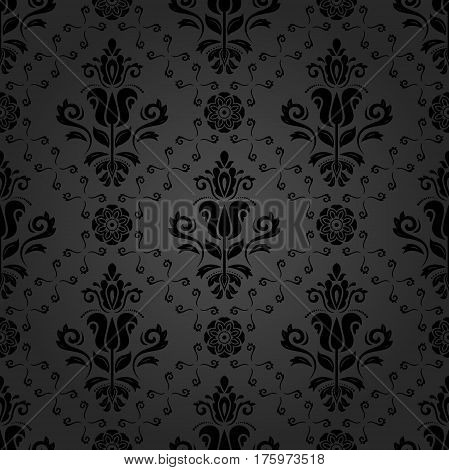 Seamless damask dark pattern. Traditional classic orient ornament
