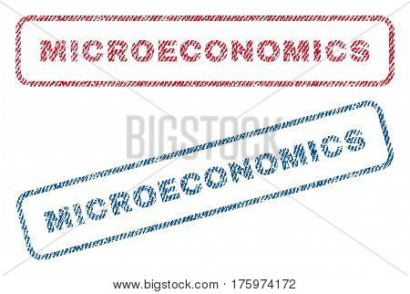 Microeconomics text textile seal stamp watermarks. Blue red fabric vectorized texture. Vector tag inside rounded rectangular banner. Rubber sticker with fiber textile structure.