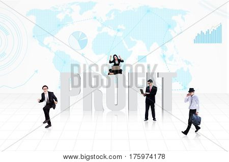Business people surround the word PROFIT on world map background