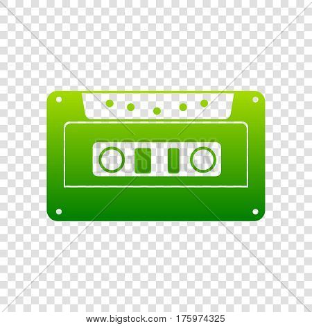 Cassette Icon, Audio Tape Sign. Vector. Green Gradient Icon On Transparent Background.