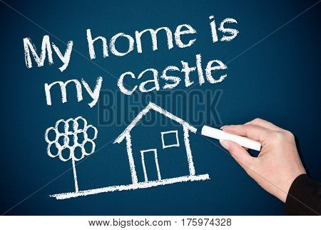 My home is my castle - sketch with text