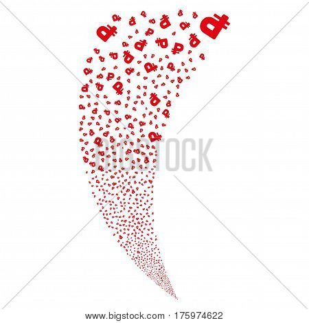 Rouble random fireworks stream. Vector illustration style is flat red iconic symbols on a white background. Object fountain made from scattered pictograms.