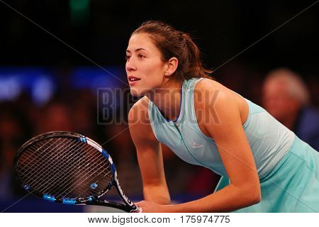 NEW YORK - MARCH 6, 2017: Grand Slam champion Garbine Muguruza of Spain in action during  BNP Paribas Showdown 10th Anniversary tennis event at Madison Square Garden in New York