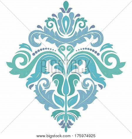 Oriental square pattern with arabesques and floral elements. Traditional classic ornament